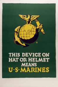 "Original Marine Recruiting Poster ""This Device on Hat or Helmet"""