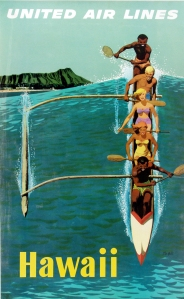 A photograph of United Airlines Hawaii Poster