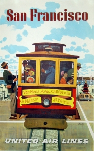 A photograph of United Airlines San Francisco Cable Car Poster