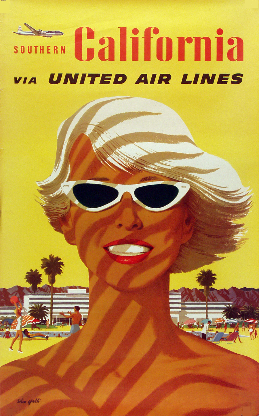 The Nutmeg Los Angeles Travel Art Of The Golden Age United Air - Los angeles posters vintage