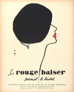 A photograph of Rouge Baiser (beret) poster