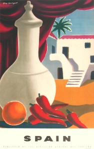 A photograph of Spain (orange and peppers) poster