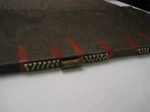 Book cover with bullet binding