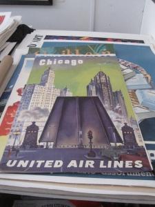 Vintage Original United Airlines Poster Chicago