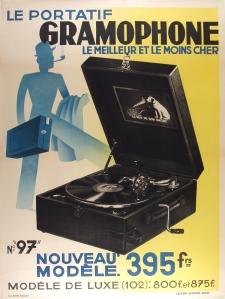 A photograph of Le Portatif Gramophone poster