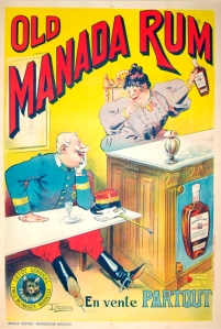 A photograph of Old Manada Rum poster