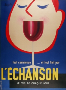 Original Vintage poster for L'Echanson Wine, printed in France circa 1960