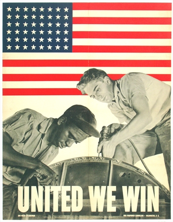 vintage WWII poster, united we win, original posters