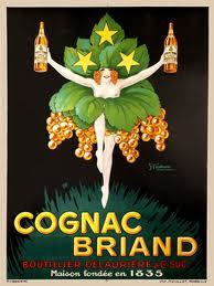Cognac Briand, vintage european posters, vintage beverage poster
