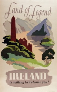 land of legend ireland vintage poster
