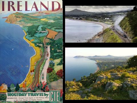 killiney ireland vintage travel poster
