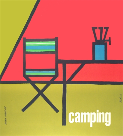 vintage poster, camping