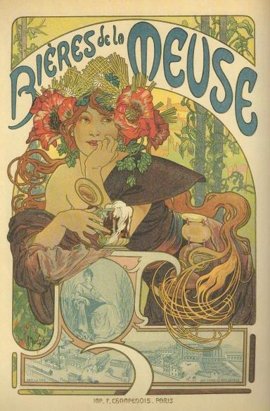 Bieres de la Meuse by Alphonse Mucha Maitre Plate 182, 1899