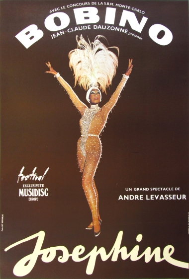 Original Josephine Baker's Farewell Tour Poster. By Ventouillac in 1975. Offset Litho.