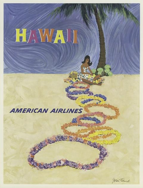 Original American Airlines Hawaii Poster by John Fernie. Printed c. 1955