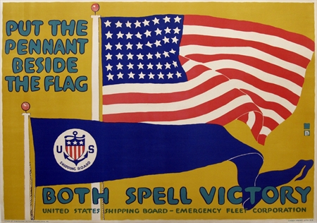 """Charles Buckles Falls, """"Put the Pennant Beside the Flag"""" Printed c. 1918"""