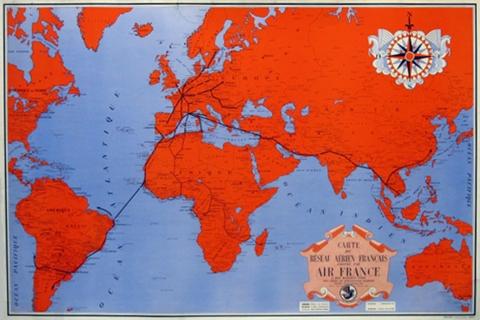 """Air France Carte du Reseau Aerien Francais "" Anon. Printed in France, 1937. Original color lithograph."