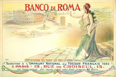 "Orth, ""Banco di Roma,"" 1920. 46 x 31. Very Fine Condition."