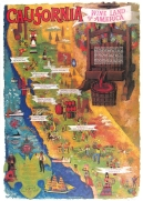 California Wine Land Poster Original Offset Lithograph Amado Gonzalez Original Wine Poster