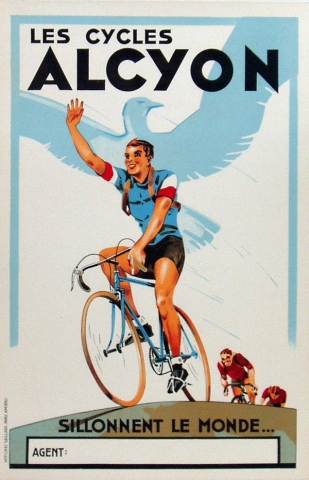Alcyon Cycles Original Stone lithograph Bicycle Poster Vintage Poster