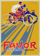 Favor Shadow 1927 original stone lithograph bicycle motorcycle