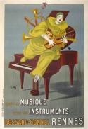 Musique Instruments Rennes Lotti Art Deco Original Stone Lithograph Vintage Poster