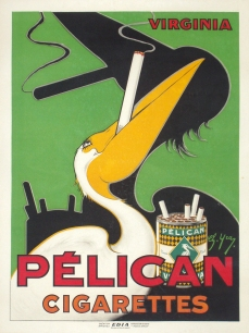 Pelican Cigarettes Original Stone Lithograph French Art Deco Original Posters