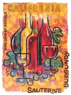California Wine Land Sauternes, Original Color Poster