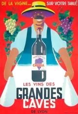 """""""Les Vins des Grandes Caves"""" c. 1930, 65.75 x 49 (inches) $2,100"""